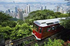 View Of Peak Tram Arriving At The Top Of The Victoria Peak; Victoria Peak, Hong Kong Island (Blue), China Poster Print (38 x 24)