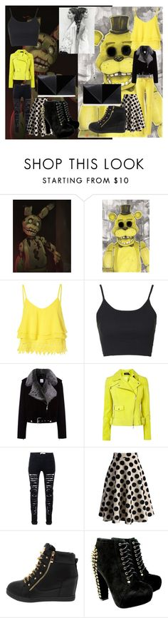 """""""Springtrap X Golden Freddy [ Twin Daughters ]"""" by ticci-starlight ❤ liked on Polyvore featuring Freddy, Glamorous, Topshop, La Bête, Chicwish, UN United Nude, women's clothing, women, female and woman"""