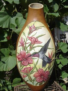 '' joys presence'' extra tall bodied gourd, carved and finished in acylics. artist - kimberly dublo