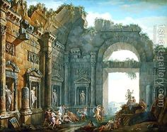 Architectural Ruins (2) by Charles-Louis Clerisseau