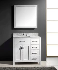 Virtu USA MS-2136R-WMSQ-WH 36-Inch Caroline Parkway Single Square Sink Bathroom Vanity, White