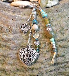 """Porte-clés """"merci de tout coeur"""" en perles naturelles, gemme, céramique, pâte de…"""