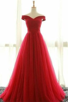 Long Prom Dresses, Sexy Prom Dresses, Off Shoulder Party Prom Dresses, Tulle Red Prom Dresses, Popular Prom Dresses,Prom Dresses