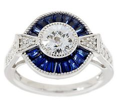 QVC - TOVA Diamonique Simulated Blue Sapphire Ring, Sterling - I have this. It's my favorite ring! It reminds me a little of the Starship Enterprise! Emerald Cut Rings, Blue Sapphire Rings, Unique Rings, Beautiful Rings, Vintage Engagement Rings, Diamond Engagement Rings, Oval Halo Ring, Simulated Diamond Rings, Ring Size Guide