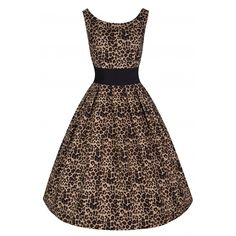 Lana' Leopard Print Party Dress with Waspie Waist Belt