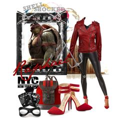 """Shell Shocked/Raphael"" A Leather fashion set themed on Raphael red with a hero theme. Cute Teen Outfits, Outfits For Teens, Cool Outfits, Tmnt, Ninja Turtle Outfit, Disney Themed Outfits, Inspired Outfits, Zombie Disney, Shell Shock"