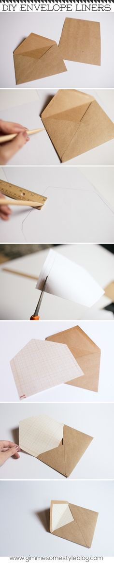 DIY Envelope Liners   www.gimmesomestyl...   #diy