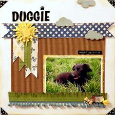 Park Paper - For the Record 2 Documented Kristi Beisel dog scrapbook layout Dog Scrapbook Layouts, Scrapbook Journal, Scrapbook Sketches, Scrapbook Paper Crafts, Scrapbook Cards, Kids Scrapbook, Picture Layouts, Echo Park Paper, Doge