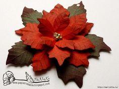 Рождественская звезда ПУАНСЕТТИЯ из бумаги. Шаблоны и мастер-класс (9) (700x525, 248Kb)