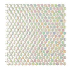 Mosarte - Revestimentos Especiais  - Coleção Tetris  - Telado - Vidro Maciço - HEXAGUS BRANCO FURTA-COR - Referência: MM 406111