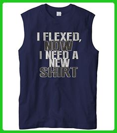 Cybertela Men's Funny Workout I Flexed, Now I Need A New Sleeveless T-Shirt (Navy Blue, Large) - Workout shirts (*Amazon Partner-Link)