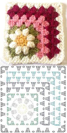 Copy and Create: Crochet Square Graphics ⋆ Front Facing .- Copie e crie: Gráficos de quadrados de crochê ⋆ De Frente Para O Mar – – Copy and create: Crochet square graphics ⋆ Facing the Sea – – - Crochet Diy, Crochet Amigurumi, Crochet Blocks, Granny Square Crochet Pattern, Crochet Flower Patterns, Crochet Diagram, Crochet Chart, Crochet Squares, Crochet Basics