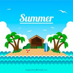 Little island background in summertime Free Vector