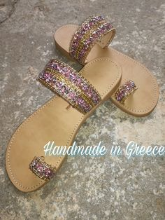 Handmade leather sandals with pink strass ornaments and gold chain. Made in Greece...