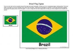 Brazil Printable Flag Puzzle