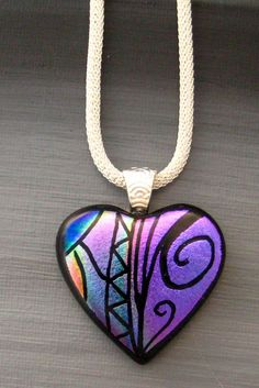 Purple Dichroic Fused Glass Hand Etched Pendant by GlassCat