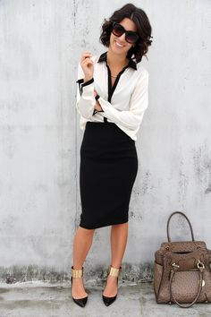 Nothing like a classic:  White blouse with black piping paired with a simple black pencil skirt and killer heels.