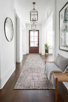 Winding Rhodes' bold yet playful Greek-style pattern takes any space to a whole new level. Entry Hallway, Entrance Rug, House Entrance, Hallway Rug, Hallways, Grand Entrance, Entryway Runner, Entryway Decor, Hallway Carpet Runners