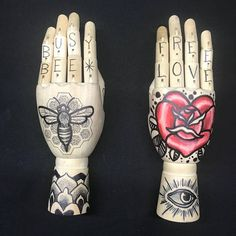 Wooden hand mannequin with neotraditional  heart shape rose