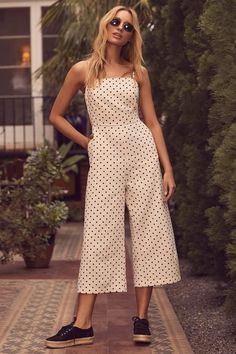 San Clemente Black and Cream Polka Dot Culotte Jumpsuit 5 Casual Outfits, Summer Outfits, Cute Outfits, Rompers Women, Jumpsuits For Women, Clothes For Women In 20's, Crochet Romper, Cotton Jumpsuit, Jumpsuit Outfit