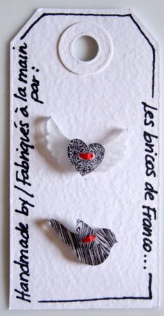 Shrink plastic bird and winged heart buttons