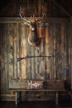 Home Decor Living Room rustic wall and deer head.Home Decor Living Room rustic wall and deer head