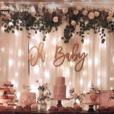 Oh baby wood baby shower sign baby shower backdrop keepsake gift gender reveal baby announcement photo shoot prop 1001 + ides comment annoncer que c est une fille Boho Baby Shower, Baby Shower Floral, Cute Baby Shower Ideas, Baby Girl Shower Themes, Girl Baby Shower Decorations, Baby Shower Signs, Baby Shower Gender Reveal, Baby Boy Shower, Gold Baby Showers