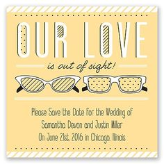 Out of Sight Save the Date Magnet - in Buttercream #Whimsical #SaveTheDate #Typography