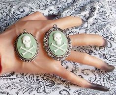 Gothic Skull and Crossbones Cameo Pendant by agonysdecay on Etsy, $12.00