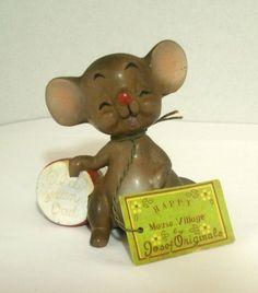 Josef Originals Old Gran Dad Happy Mouse Village Figurine Japan with Tag #JosefOriginals
