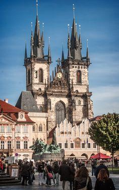 Church of our Lady before Tyn [Týnský Chrám] (c. 1380-1511), day view #2, Old Town Square, Parízská Str, Old Town, Prague, Czech Republic   by lumierefl