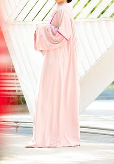 Gorgeous and pretty is how you will feel wearing this lovely blush abaya. Abaya Fashion, Abayas, Floral Embroidery, My Outfit, Color Pop, Blush, Feminine, Glamour, Stylish