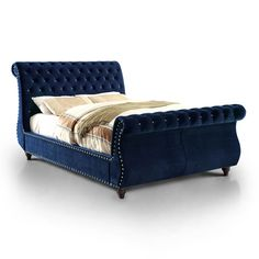 Furniture of America Sandre Glam Tufted Flannelette Sleigh Bed (Navy - Cal. King), Blue, Size California King