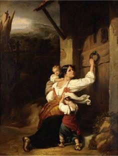Madre y niños que huyen