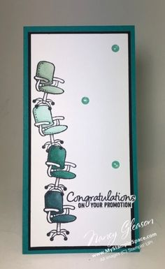 Today's project is for the Paper Players Challenge - a tall and skinny card. It's the perfect layout as I need to make a card for a co-worker who got a a card for co-worker who just got a promotion Paper Cards, Diy Cards, Scrapbook Paper Crafts, Scrapbook Pages, Promotion Card, Welcome To The Team, Make Your Own Card, Hand Stamped Cards, Beautiful Handmade Cards