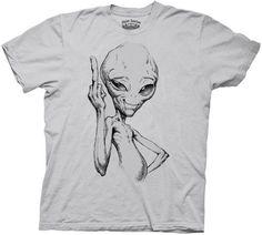 Paul Movie Alien Finger Grey Adult T-shirt