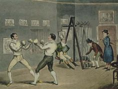 Fisticuffs at Jackson's Boxing Emporium. Regency gentlemen attending boxing tuition.