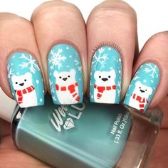 Gift Yourself a Christmas-Inspired Manicure Using These Festive and Bright Nail Art Designs Cute Christmas Nails, Christmas Nail Art Designs, Holiday Nails, Simple Christmas, Winter Nail Art, Winter Nails, Snowman Nails, Bright Nail Art, Green Nails