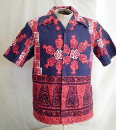 Vintage Hawaiian Shirt  1960's Vintage Barkcloth Hawaiian Shirt  Tiki Top Loop  Iolani Label Border Print by rue23vintage on Etsy