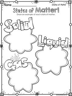 States Of Matter Solids Liquids Gas Printable Sketch Coloring Page Primary Science, Kindergarten Science, Elementary Science, Science Classroom, Teaching Science, Science Education, States Of Matter Worksheet, Matter Worksheets, Science Worksheets