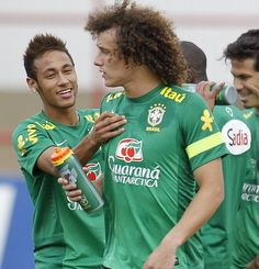 David Luiz and Neymar  Brazil national football team training