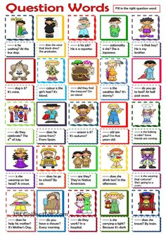 Question Words worksheet - Free ESL printable worksheets made by teachers Learning English For Kids, English Lessons For Kids, Kids English, English Words, English Grammar, Teaching English, Learn English, English Language, English Activities