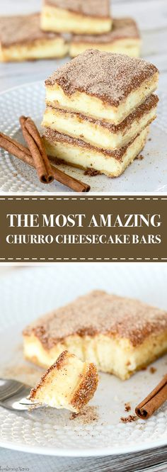 The Most Amazing Churro Cheesecake Bars   The crunchy cinnamony goodness of a churro filled with a tangy cream cheese filling. The best of two desserts rolled into one! #dessert #churro #cheesecake #bars   delicioushealthy.club