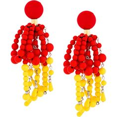 Marni beaded clip earrings (€435) ❤ liked on Polyvore featuring jewelry, earrings, red, beading earrings, red beaded earrings, round earrings, oversized earrings and holiday jewelry