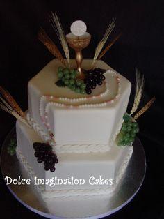 Communion cake Art Deco Cake, Cake Art, First Holy Communion Cake, Religious Cakes, Occasion Cakes, Beautiful Cakes, Birthday Celebration, Cake Pops, Cake Ideas