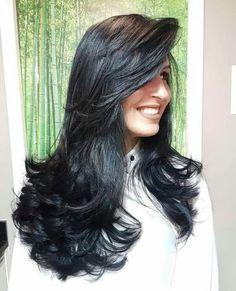 Image may contain: 1 person Haircuts Straight Hair, Long Hair Cuts, Hair Color For Black Hair, Dark Hair, Medium Hair Styles, Long Hair Styles, Long Layered Hair, Beautiful Long Hair, Ombre Hair