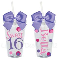 Sweet 16 Birthday Personalized 16oz Acrylic Tumbler. $15.00, via Etsy.