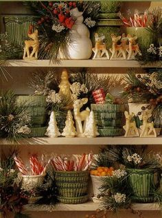 McCoy planter collection used for vintage Christmas display Thimbleberries newsletter Christmas Kitchen, Noel Christmas, Country Christmas, Winter Christmas, Christmas Crafts, Christmas Booth, Christmas Ideas, Christmas Vignette, Xmas