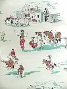 Vintage Roll Cowboy Wallpaper ca 1950s 12-1/2 ft., Stage Coach Horse Steer +