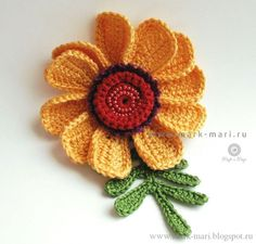 crochet flower see:                                         http://mark-mari.blogspot.ru/2013/07/julysix.html#more